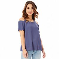 Junior's IZ Byer Scallop Edge Cold Shoulder Top