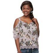 Plus Size Juniors' Liberty Love Floral Cold-Shoulder Top