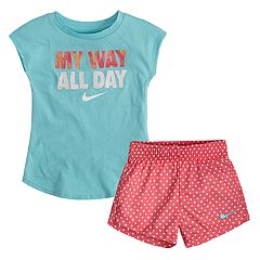 Toddler Girl Nike 'My Way All Day' Graphic Tee & Polka-Dot Mesh Shorts Set