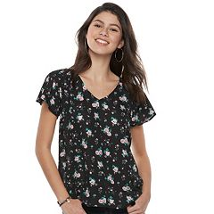 Juniors' Grayson Threads Floral Flutter Sleeve Top