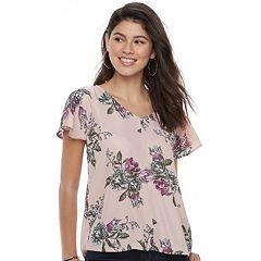 Juniors' Grayson Threads Floral Flutter Sleeve Top