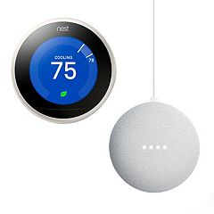 Nest Learning Thermostat White (3rd Generation) + Google Home Mini Bundle