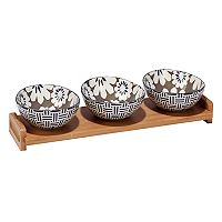 Certified International Grey Floral 4 pc Serving Set with Bamboo Tray