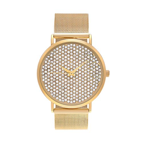 Journee Collection Women's Crystal Mesh Watch