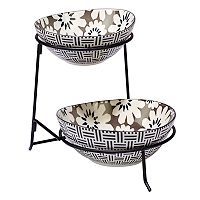Certified International Grey Floral 2 tier Server with Oval Bowls