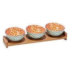 Certified International Green Ikat 4 pc. Serving Set with Bamboo Tray