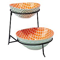 Certified International Green Ikat 2 tier Server with Oval Bowls