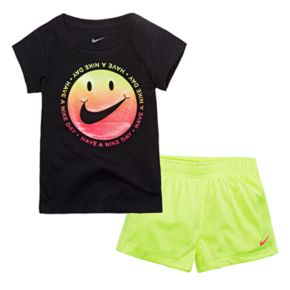 "Toddler Girl Nike ""Have a Nike Day"" Graphic Tee & Mesh Shorts Set"