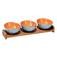 Certified International Aqua Swirl 4 pc Serving Set with Bamboo Tray