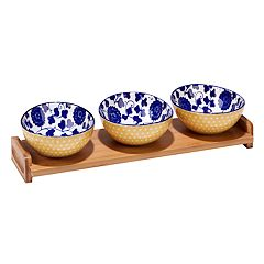 Certified International Indigo Poppy 4 pc Serving Set with Bamboo Tray