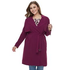 Plus Size Jennifer Lopez Drapey Trench Coat