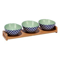 Certified International Indigo Quatrefoil 4 pc Serving Set with Bamboo Tray