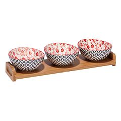 Certified International Red Floral Lattice 4 pc Serving Set with Bamboo Tray
