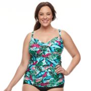 Plus Size Croft & Barrow® Leaf Twist-Front Tankini Top