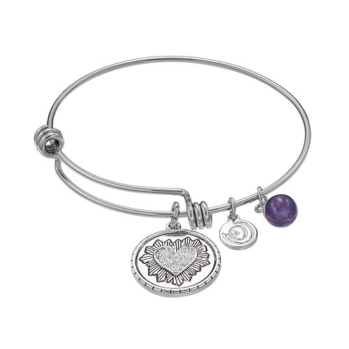 love this life Silver Plated Amethyst Heart Charm Bangle Bracelet