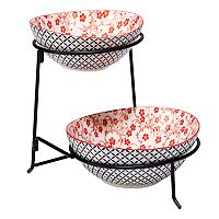 Certified International Red Floral Lattice 2 tier Server with Oval Bowls