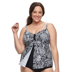 Plus Size Croft & Barrow® Flyaway D-Cup Tankini Top