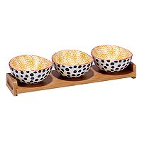 Certified International Daisy Dots 4 pc Serving Set with Bamboo Tray