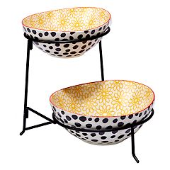 Certified International Daisy Dots 2 tier Server with Oval Bowls