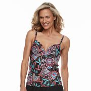 Women's Croft & Barrow® Floral Twisted Push-Up Tankini Top