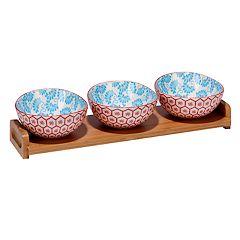 Certified International Honeycomb 4 pc Serving Set with Bamboo