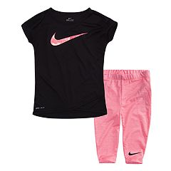 Toddler Girl Nike Dolman Swoosh Graphic Tee & Striped Capri Leggings Set