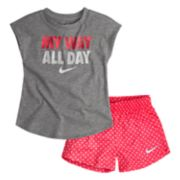 "Toddler Girl Nike ""My Way All Day"" Tee & Polka Dot Shorts Set"