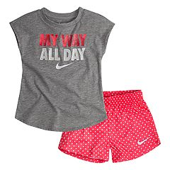 Toddler Girl Nike 'My Way All Day' Tee & Polka Dot Shorts Set