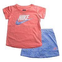 Toddler Girl Nike Logo Tee & Polka-Dot Skort