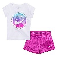 Toddler Girl Nike Sparkly Smiley Graphic Tee & Mesh Shorts Set