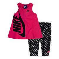 Toddler Girl Nike Swing Logo Tank Top & Polka-Dot Leggings Set