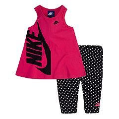 Toddler Girl Nike Swing Logo Tank Top & Polka-Dot Leggings Set