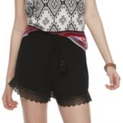 Juniors' Mudd® Crochet-Hem Shorts