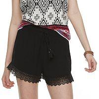 Juniors' Mudd® Crochet-Hem Shorts