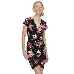 Juniors' Almost Famous Print Faux-Wrap Dress