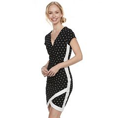 Juniors' Almost Famous Print Faux-Wrap Dress