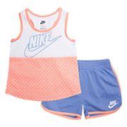 Toddler Girl Nike Polka-Dot Tank Top & Shorts Set
