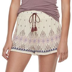 Juniors' Mudd® Print Tassel Soft Shorts