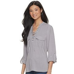 Women's Rock & Republic® Roll-Tab Twill Shirt