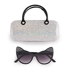 Girls 5-12 Elli By Capelli Plastic Cat Sunglasses With Glitter Case