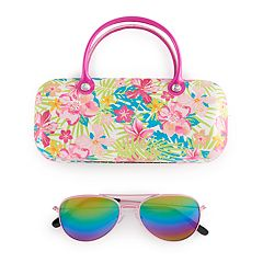 Girls 5-12 Elli By Capelli Metal Aviator Sunglasses With Case