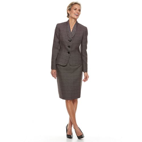 Women's Le Suit Triple Button Tweed Skirt Suit Set