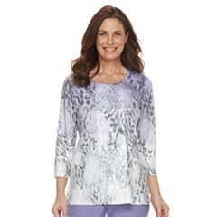 Petite Alfred Dunner Studio Ombre Leopard Print Top