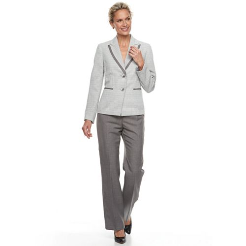 Women's Le Suit Tweed Notch Lapel Pant Suit Set