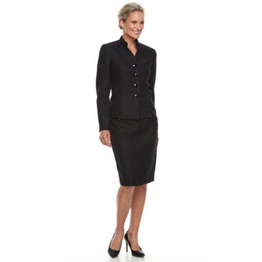 Women's Le Suit Inverted Notch Skirt Suit Set