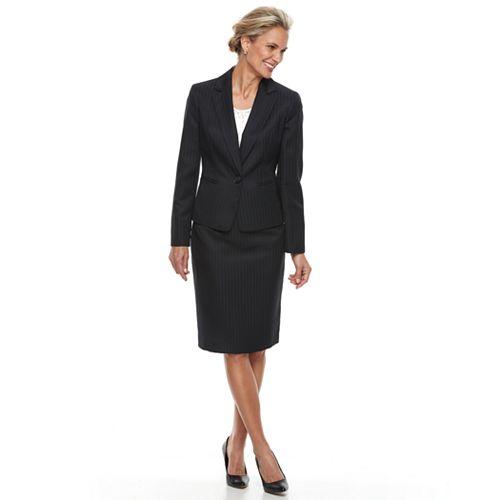 Women's Le Suit Pinstripe Skirt Suit Set