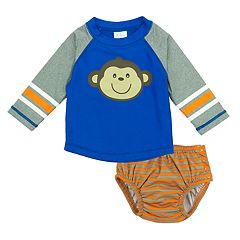 Baby Boy Kiko & Max Monkey Rash Guard & Striped Swim Diaper Set