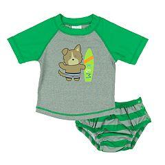 Baby Boy Kiko & Max Raglan Rash Guard & Swim Diaper Set