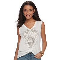 Juniors' Awake Twist-Front Graphic Tank