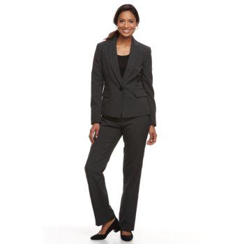 Women S Le Suit Pinstriped Jacket Pant Suit